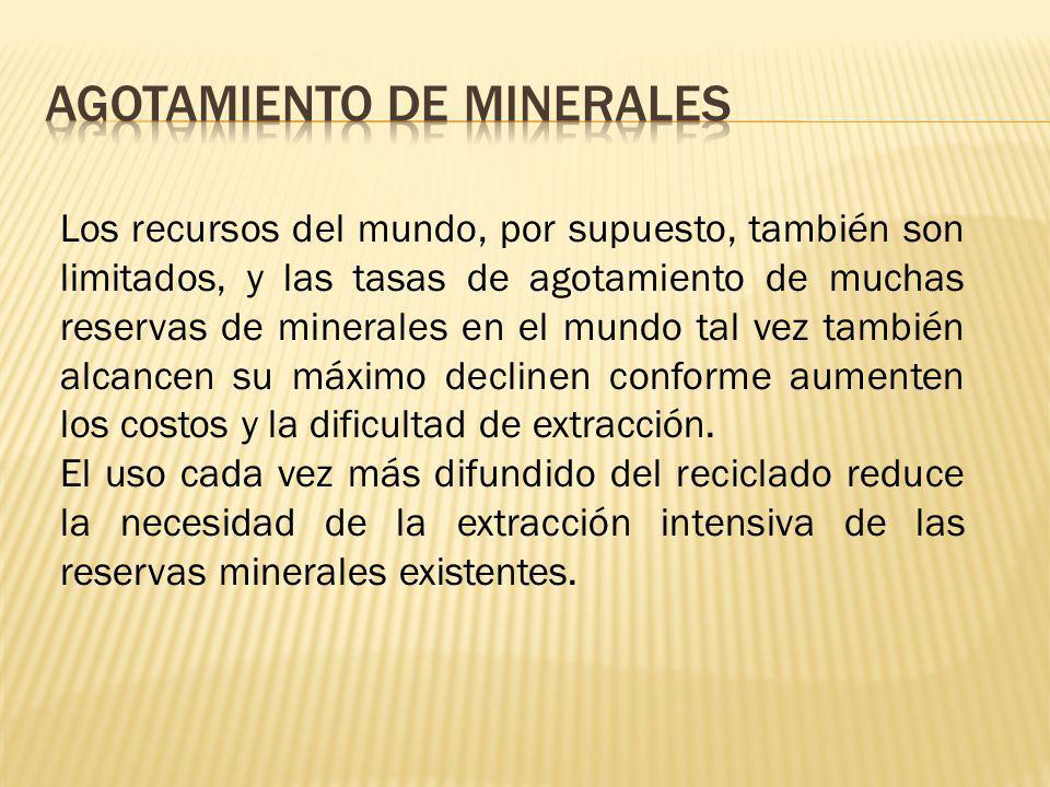 Los recursos del mundo, por supuesto, también son limitados, y las tasas de agotamiento de muchas reservas de minerales en el mundo tal vez también al