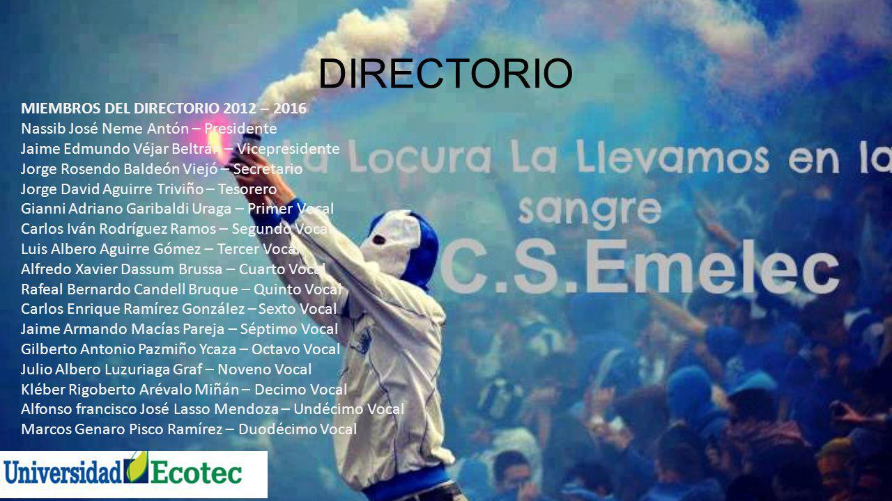 DIRECTORIO MIEMBROS DEL DIRECTORIO 2012 – 2016 Nassib José Neme Antón – Presidente Jaime Edmundo Véjar Beltrán – Vicepresidente Jorge Rosendo Baldeón