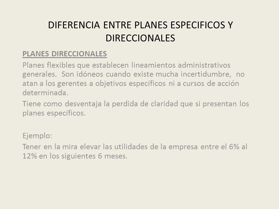 DIFERENCIA ENTRE PLANES ESPECIFICOS Y DIRECCIONALES PLANES DIRECCIONALES Planes flexibles que establecen lineamientos administrativos generales. Son i