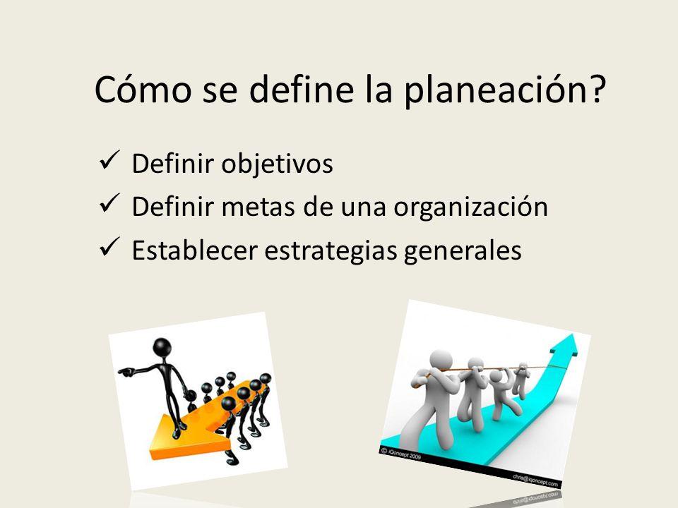 Cómo se define la planeación? Definir objetivos Definir metas de una organización Establecer estrategias generales