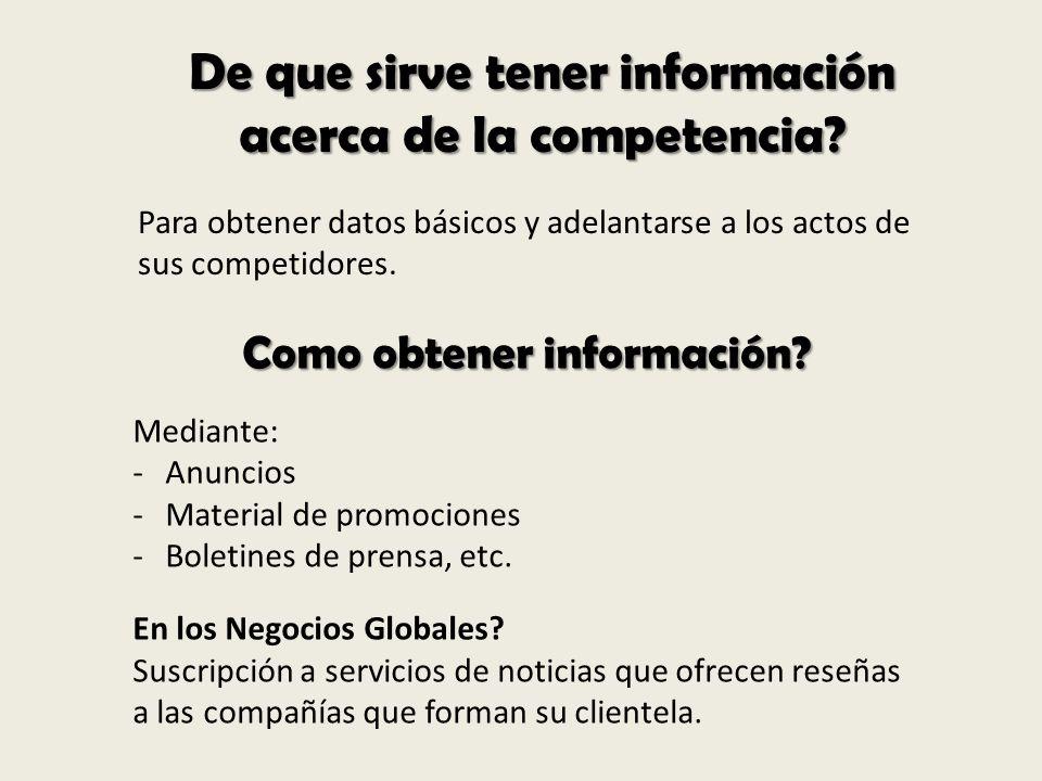 De que sirve tener información acerca de la competencia? Para obtener datos básicos y adelantarse a los actos de sus competidores. Como obtener inform