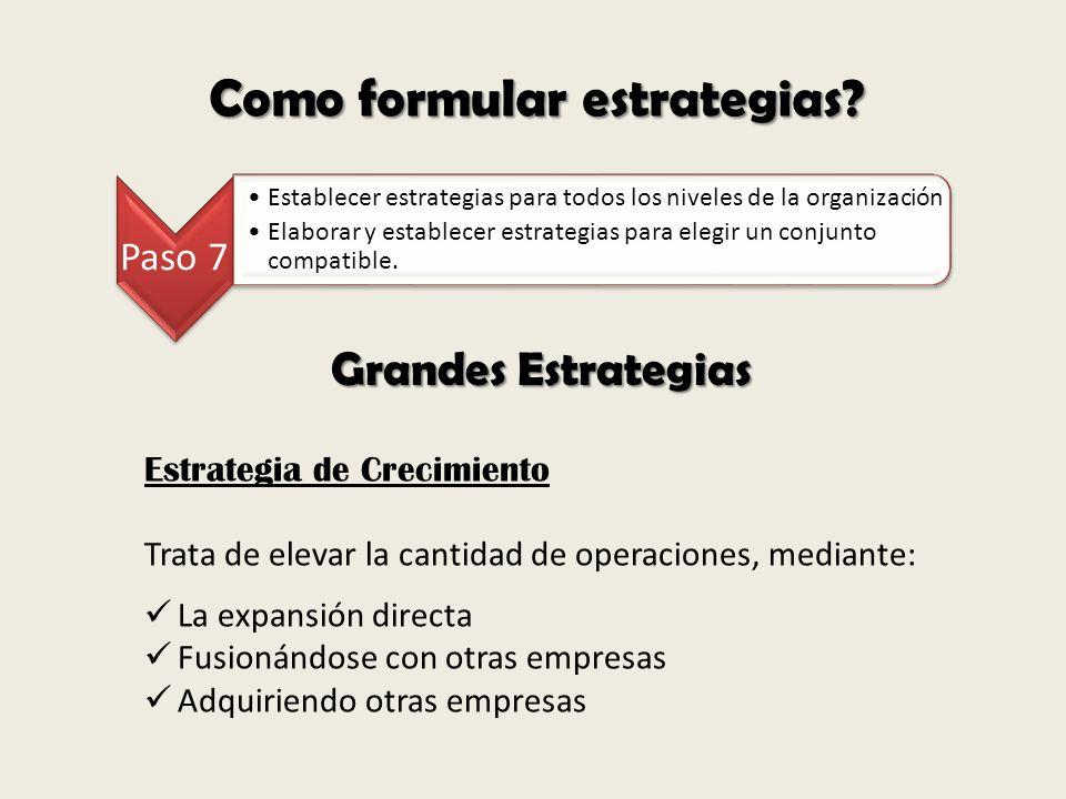 Como formular estrategias? Paso 7 Establecer estrategias para todos los niveles de la organización Elaborar y establecer estrategias para elegir un co