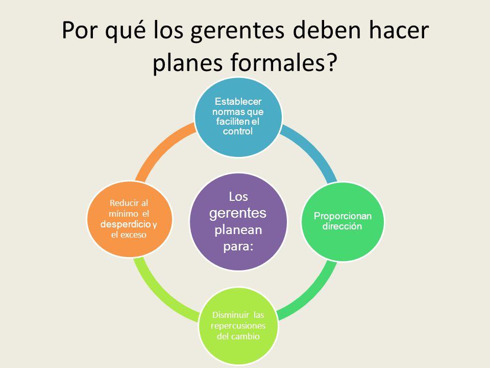 Por qué los gerentes deben hacer planes formales?