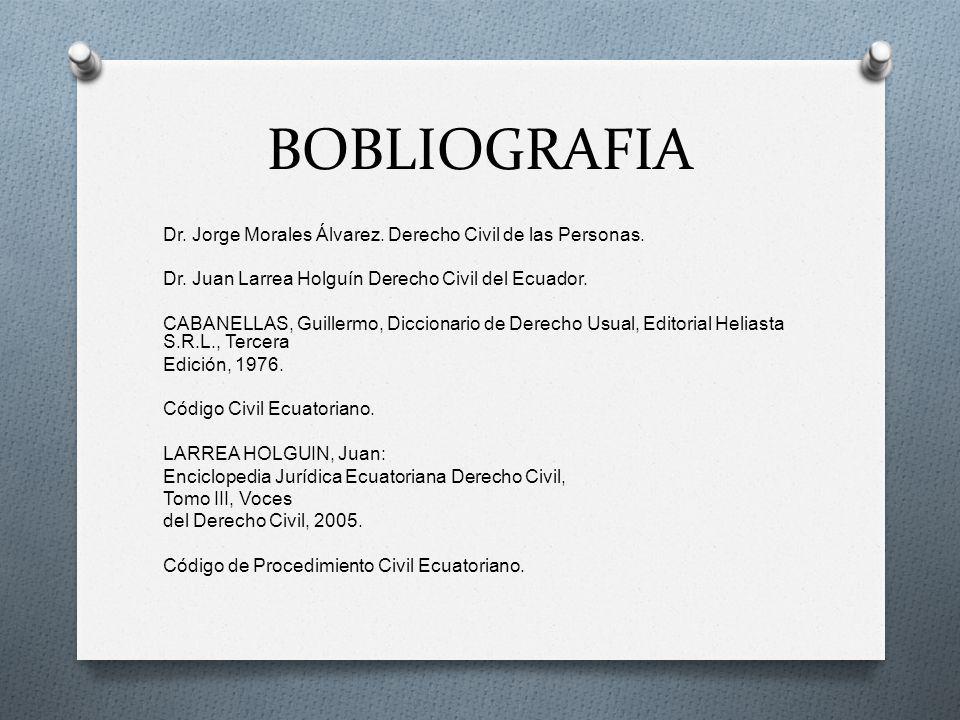 BOBLIOGRAFIA Dr. Jorge Morales Álvarez. Derecho Civil de las Personas. Dr. Juan Larrea Holguín Derecho Civil del Ecuador. CABANELLAS, Guillermo, Dicci
