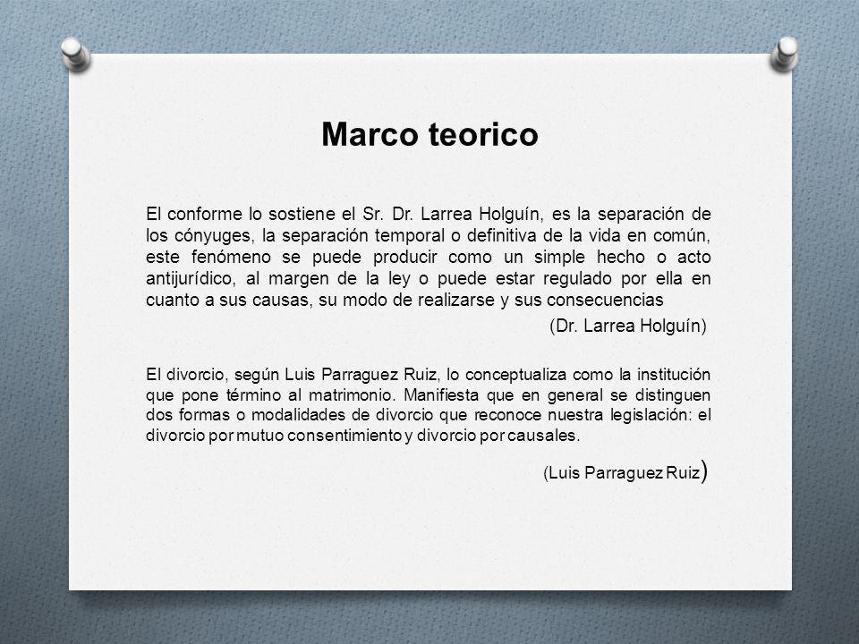 Marco teorico El conforme lo sostiene el Sr. Dr. Larrea Holguín, es la separación de los cónyuges, la separación temporal o definitiva de la vida en c
