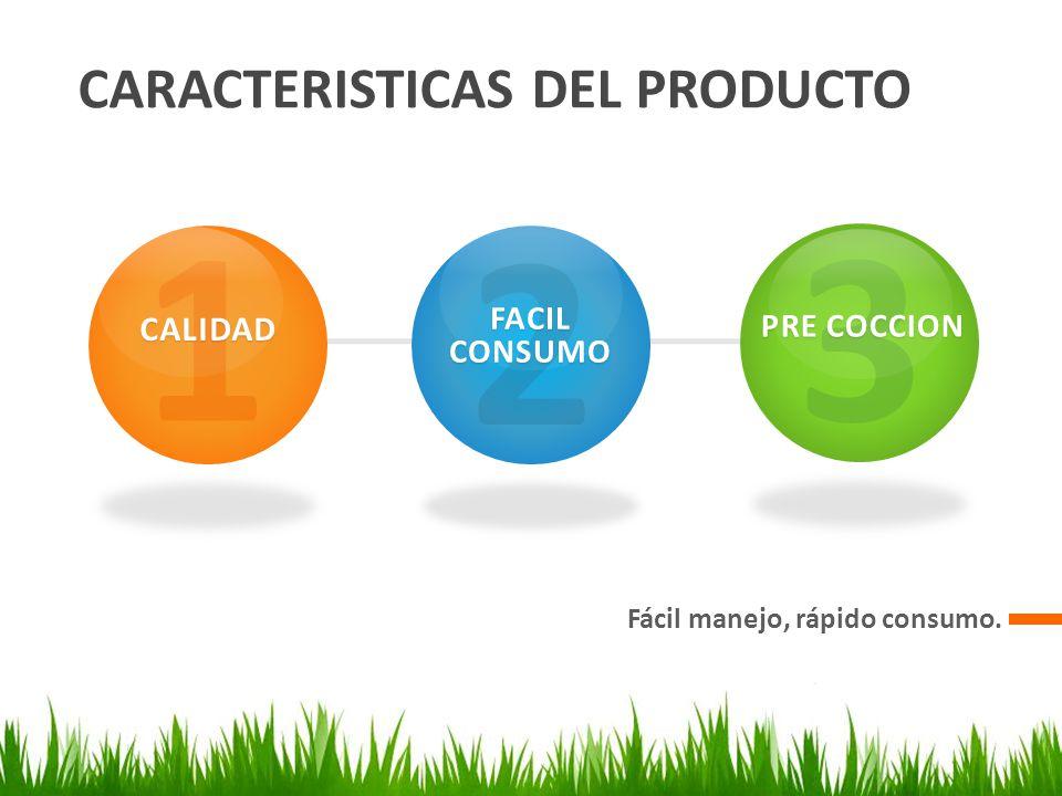 CARACTERISTICAS DEL PRODUCTO Fácil manejo, rápido consumo. 1CALIDAD 2 FACIL CONSUMO 3 PRE COCCION