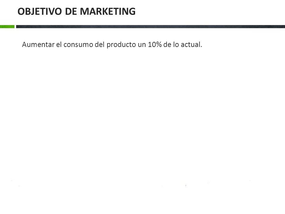 Aumentar el consumo del producto un 10% de lo actual. OBJETIVO DE MARKETING