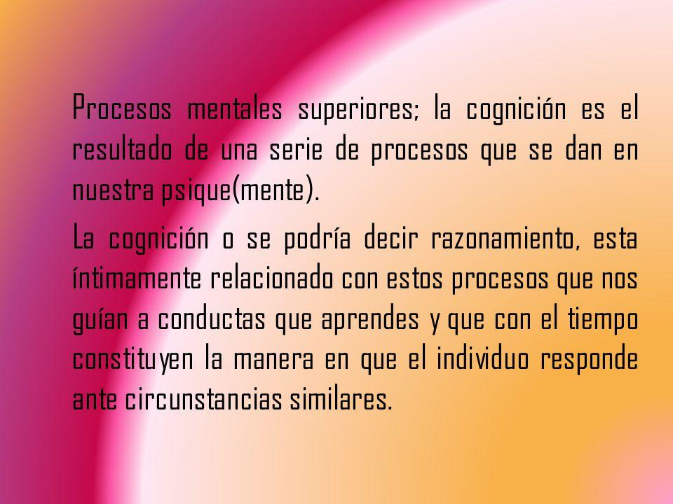 Procesos mentales superiores; la cognición es el resultado de una serie de procesos que se dan en nuestra psique(mente).