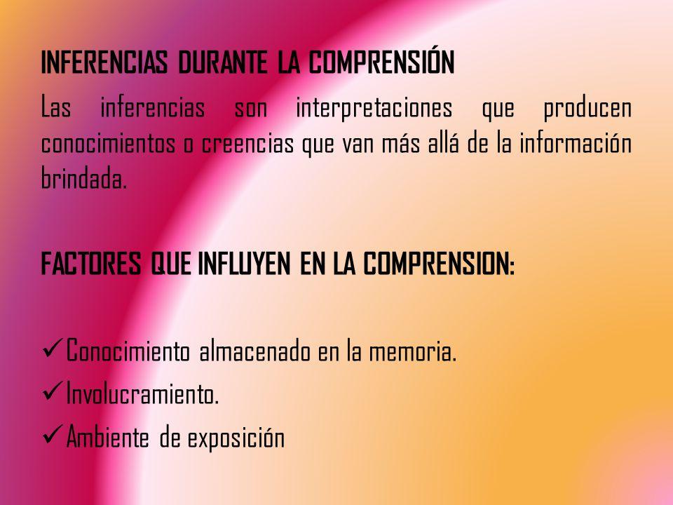 INFERENCIAS DURANTE LA COMPRENSIÓN Las inferencias son interpretaciones que producen conocimientos o creencias que van más allá de la información brindada.