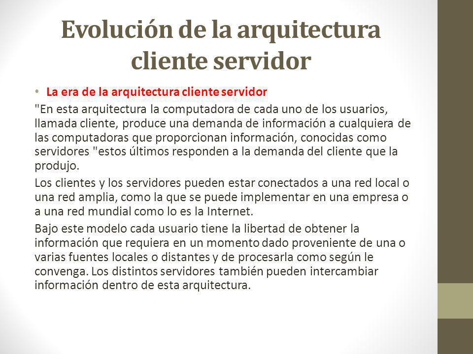 Evolución de la arquitectura cliente servidor La era de la arquitectura cliente servidor