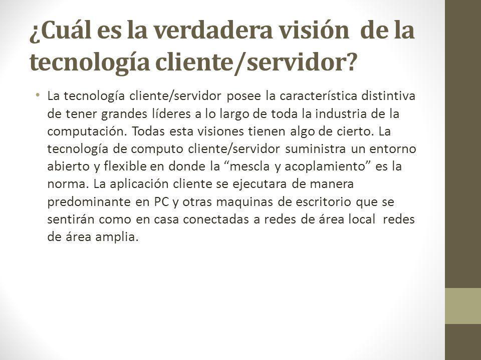 ¿Cuál es la verdadera visión de la tecnología cliente/servidor? La tecnología cliente/servidor posee la característica distintiva de tener grandes líd