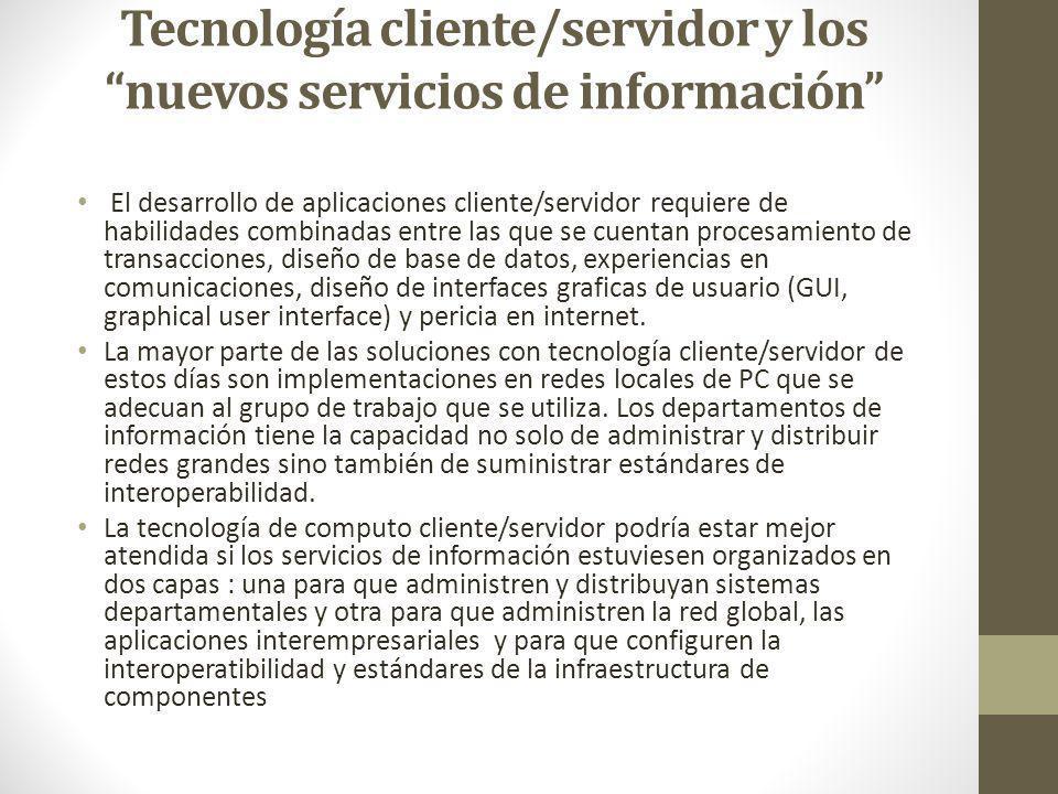 Tecnología cliente/servidor y los nuevos servicios de información El desarrollo de aplicaciones cliente/servidor requiere de habilidades combinadas en