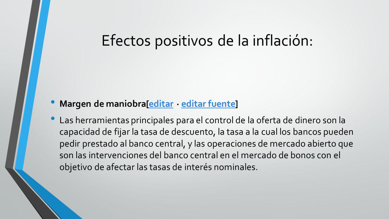 Efectos positivos de la inflación: Margen de maniobra[editar · editar fuente]editareditar fuente Las herramientas principales para el control de la of