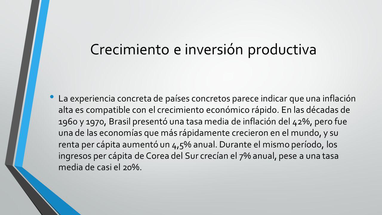 Crecimiento e inversión productiva La experiencia concreta de países concretos parece indicar que una inflación alta es compatible con el crecimiento
