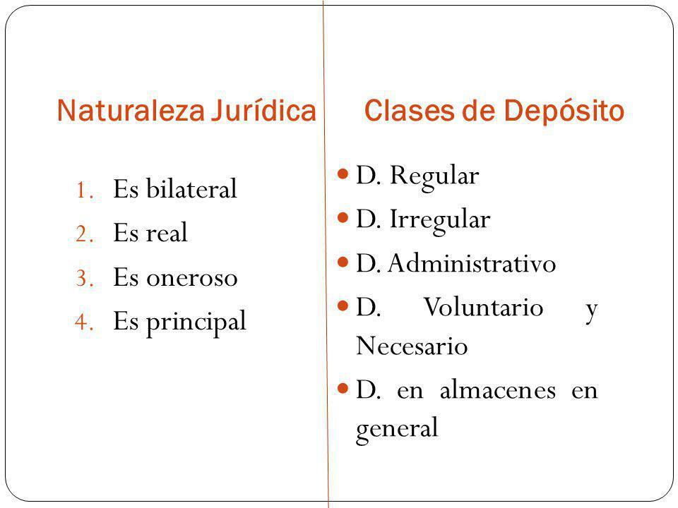 Naturaleza Jurídica Clases de Depósito 1. Es bilateral 2. Es real 3. Es oneroso 4. Es principal D. Regular D. Irregular D. Administrativo D. Voluntari
