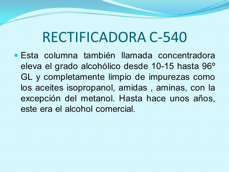 RECTIFICADORA C-540 Esta columna también llamada concentradora eleva el grado alcohólico desde 10-15 hasta 96º GL y completamente limpio de impurezas