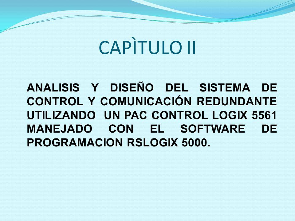 CAPÌTULO II ANALISIS Y DISEÑO DEL SISTEMA DE CONTROL Y COMUNICACIÓN REDUNDANTE UTILIZANDO UN PAC CONTROL LOGIX 5561 MANEJADO CON EL SOFTWARE DE PROGRA