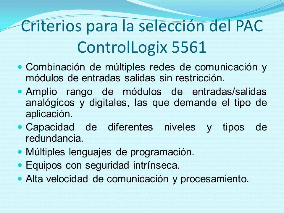 Criterios para la selección del PAC ControlLogix 5561 Combinación de múltiples redes de comunicación y módulos de entradas salidas sin restricción. Am
