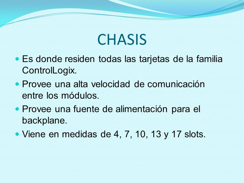 CHASIS Es donde residen todas las tarjetas de la familia ControlLogix. Provee una alta velocidad de comunicación entre los módulos. Provee una fuente