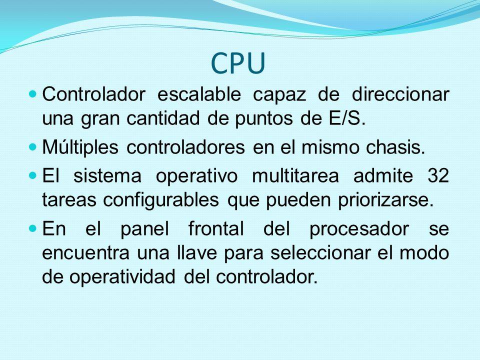 CPU Controlador escalable capaz de direccionar una gran cantidad de puntos de E/S. Múltiples controladores en el mismo chasis. El sistema operativo mu