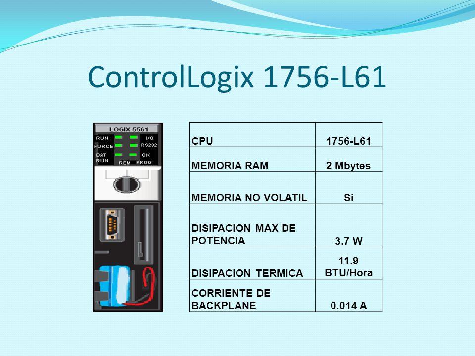 ControlLogix 1756-L61 CPU1756-L61 MEMORIA RAM2 Mbytes MEMORIA NO VOLATILSi DISIPACION MAX DE POTENCIA3.7 W DISIPACION TERMICA 11.9 BTU/Hora CORRIENTE