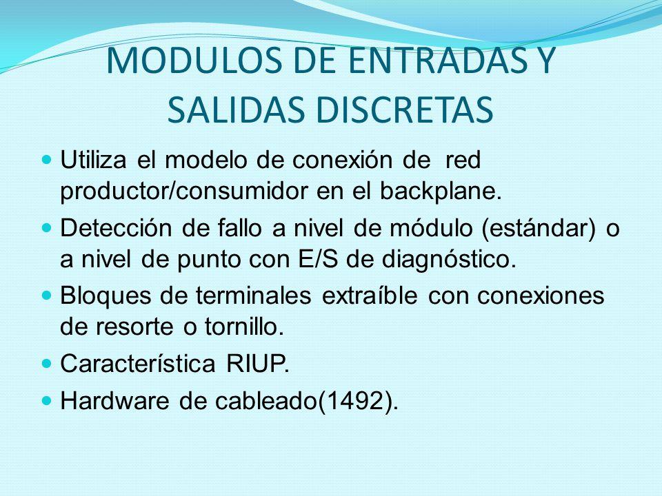 MODULOS DE ENTRADAS Y SALIDAS DISCRETAS Utiliza el modelo de conexión de red productor/consumidor en el backplane. Detección de fallo a nivel de módul