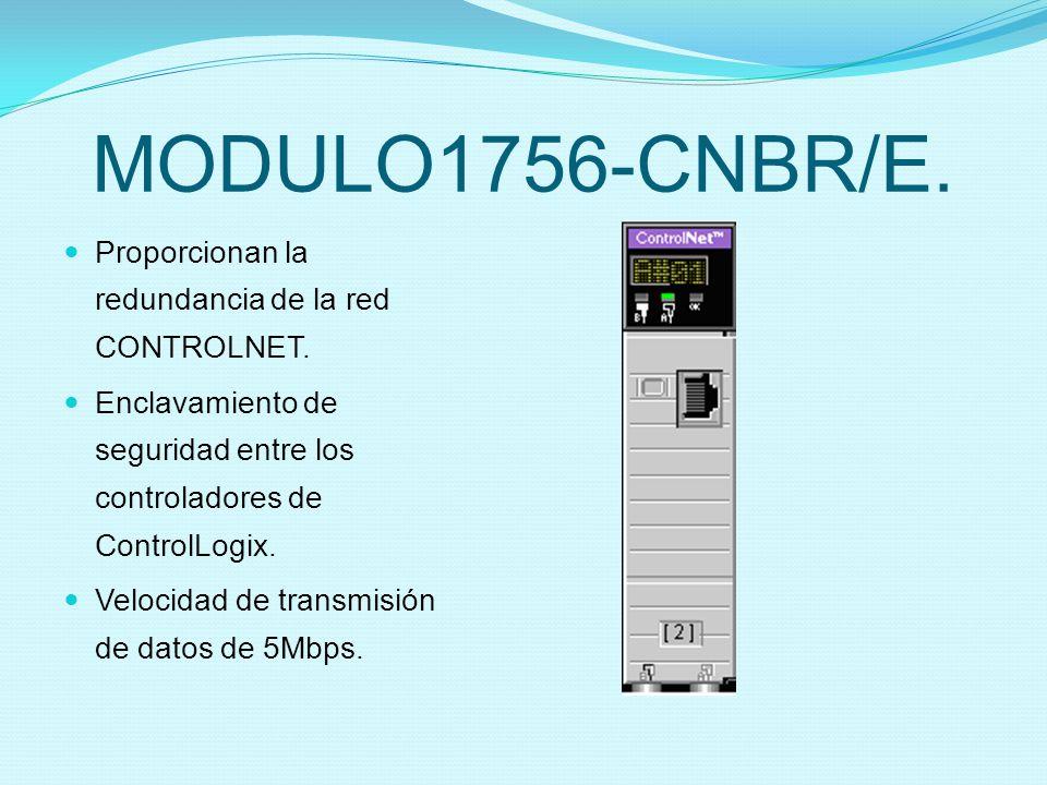 MODULO1756-CNBR/E. Proporcionan la redundancia de la red CONTROLNET. Enclavamiento de seguridad entre los controladores de ControlLogix. Velocidad de
