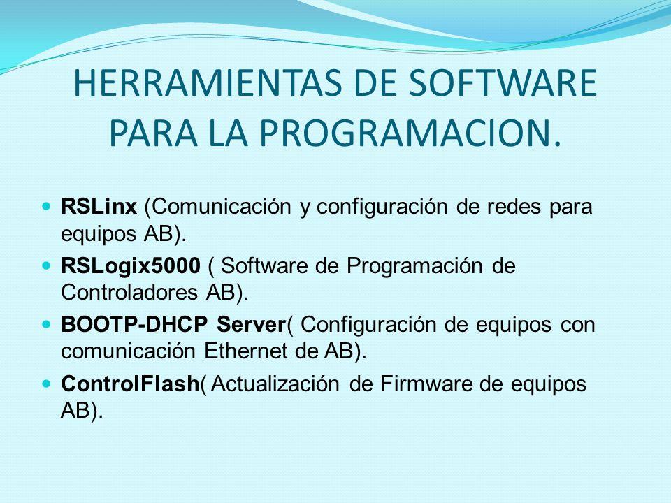 HERRAMIENTAS DE SOFTWARE PARA LA PROGRAMACION. RSLinx (Comunicación y configuración de redes para equipos AB). RSLogix5000 ( Software de Programación