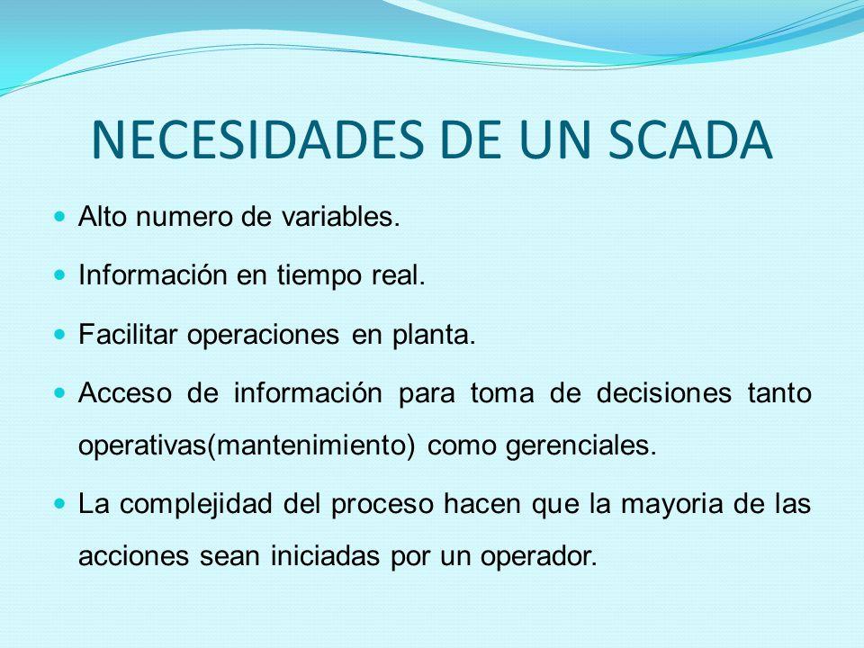 NECESIDADES DE UN SCADA Alto numero de variables. Información en tiempo real. Facilitar operaciones en planta. Acceso de información para toma de deci