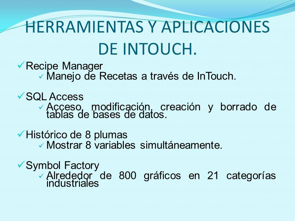 HERRAMIENTAS Y APLICACIONES DE INTOUCH. Recipe Manager Manejo de Recetas a través de InTouch. SQL Access Acceso, modificación, creación y borrado de t