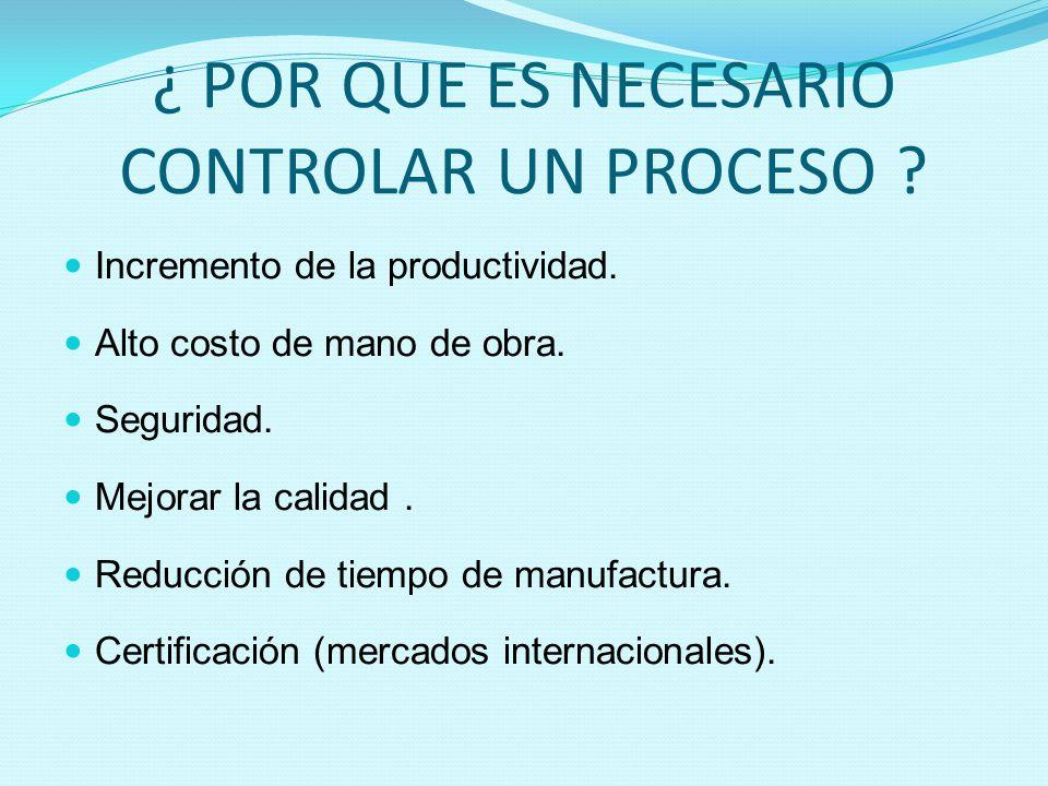 ¿ POR QUE ES NECESARIO CONTROLAR UN PROCESO ? Incremento de la productividad. Alto costo de mano de obra. Seguridad. Mejorar la calidad. Reducción de