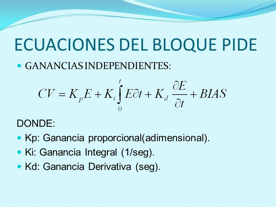 ECUACIONES DEL BLOQUE PIDE GANANCIAS INDEPENDIENTES: DONDE: Kp: Ganancia proporcional(adimensional). Ki: Ganancia Integral (1/seg). Kd: Ganancia Deriv