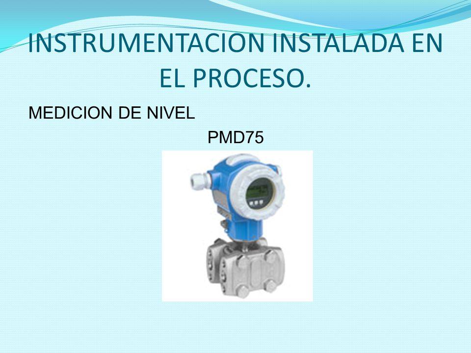 INSTRUMENTACION INSTALADA EN EL PROCESO. MEDICION DE NIVEL PMD75