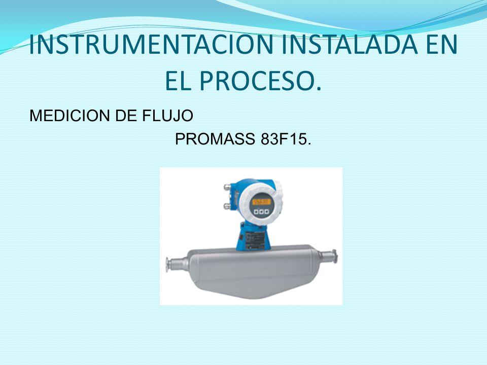 INSTRUMENTACION INSTALADA EN EL PROCESO. MEDICION DE FLUJO PROMASS 83F15.