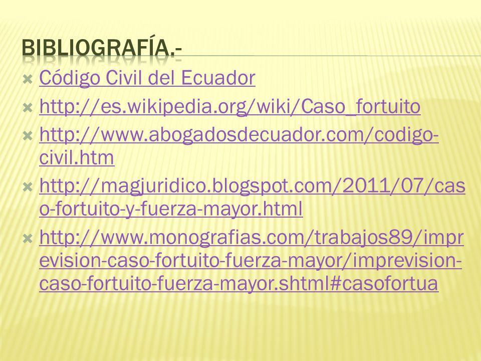 Código Civil del Ecuador http://es.wikipedia.org/wiki/Caso_fortuito http://www.abogadosdecuador.com/codigo- civil.htm http://www.abogadosdecuador.com/codigo- civil.htm http://magjuridico.blogspot.com/2011/07/cas o-fortuito-y-fuerza-mayor.html http://magjuridico.blogspot.com/2011/07/cas o-fortuito-y-fuerza-mayor.html http://www.monografias.com/trabajos89/impr evision-caso-fortuito-fuerza-mayor/imprevision- caso-fortuito-fuerza-mayor.shtml#casofortua http://www.monografias.com/trabajos89/impr evision-caso-fortuito-fuerza-mayor/imprevision- caso-fortuito-fuerza-mayor.shtml#casofortua