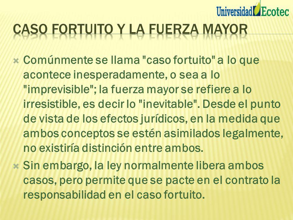 Comúnmente se llama caso fortuito a lo que acontece inesperadamente, o sea a lo imprevisible ; la fuerza mayor se refiere a lo irresistible, es decir lo inevitable .