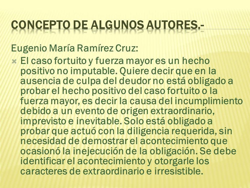 Eugenio María Ramírez Cruz: El caso fortuito y fuerza mayor es un hecho positivo no imputable.