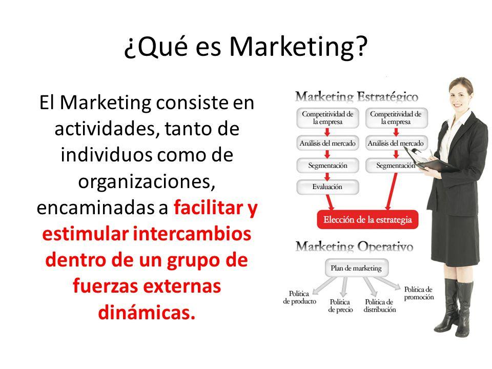 ¿Qué es Marketing? El Marketing consiste en actividades, tanto de individuos como de organizaciones, encaminadas a facilitar y estimular intercambios