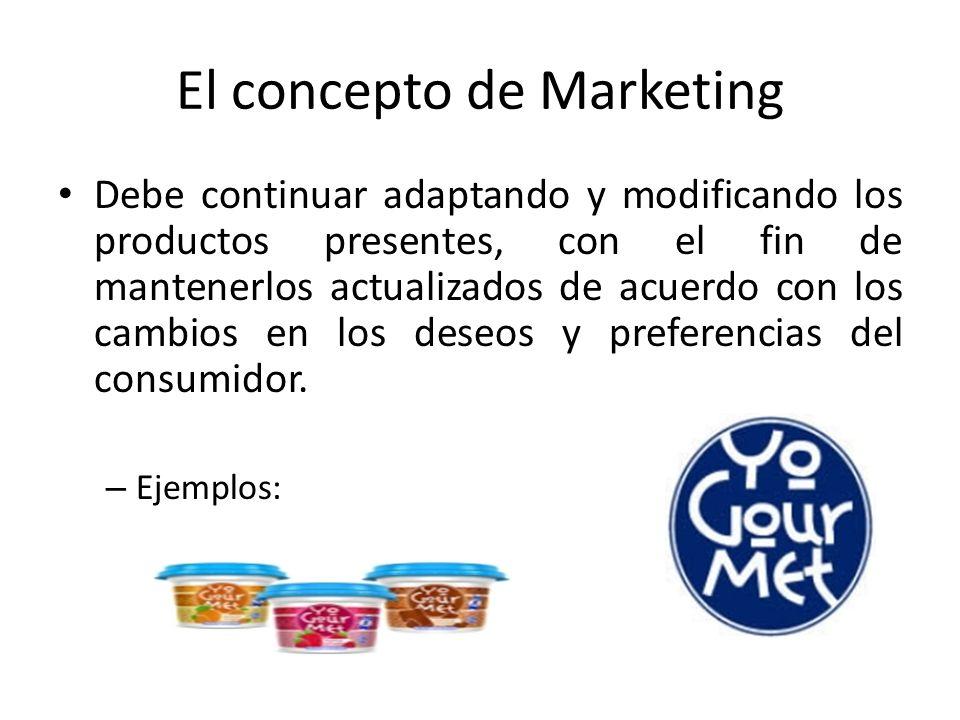 El concepto de Marketing Debe continuar adaptando y modificando los productos presentes, con el fin de mantenerlos actualizados de acuerdo con los cam
