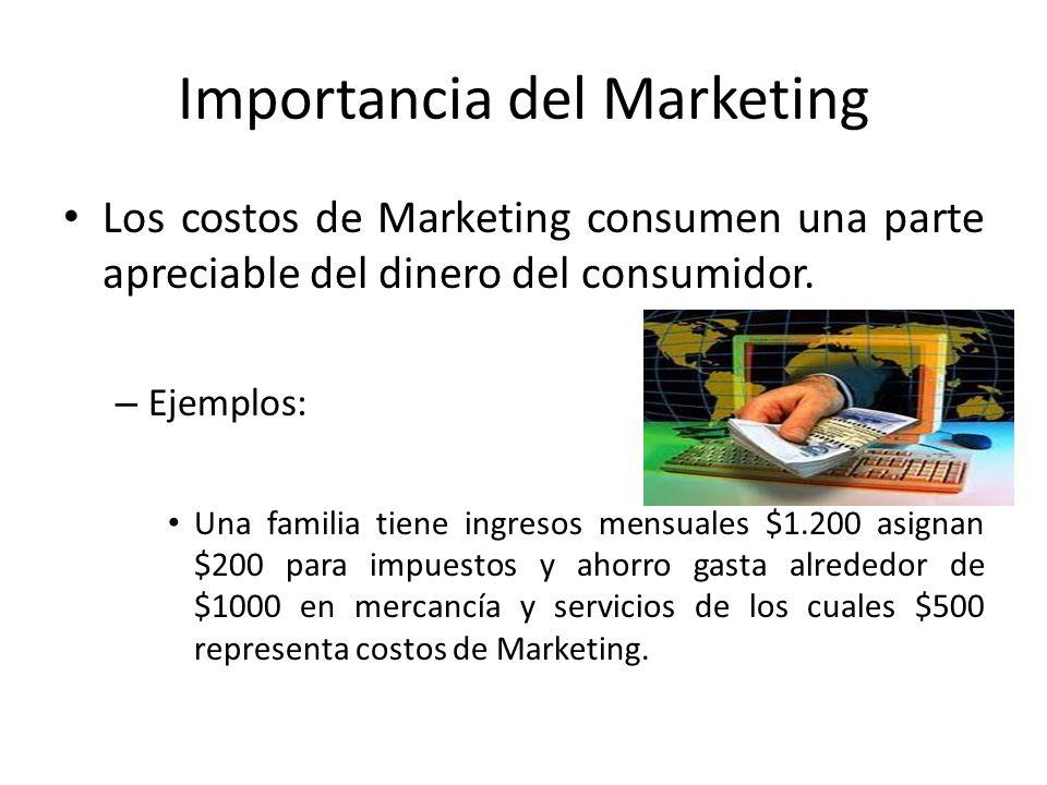 Importancia del Marketing Los costos de Marketing consumen una parte apreciable del dinero del consumidor. – Ejemplos: Una familia tiene ingresos mens