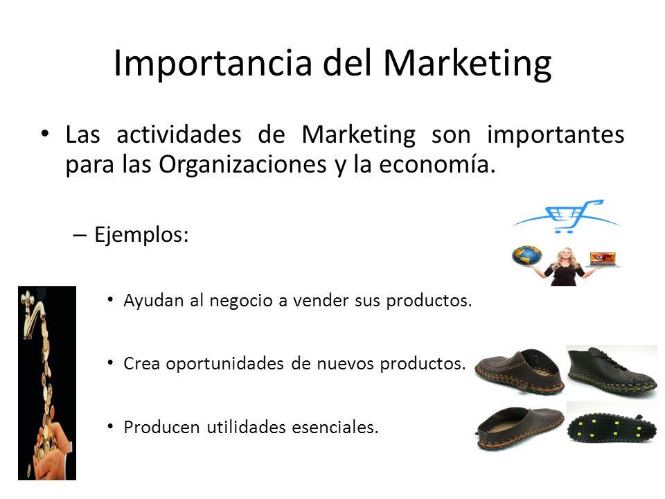 Importancia del Marketing Las actividades de Marketing son importantes para las Organizaciones y la economía. – Ejemplos: Ayudan al negocio a vender s