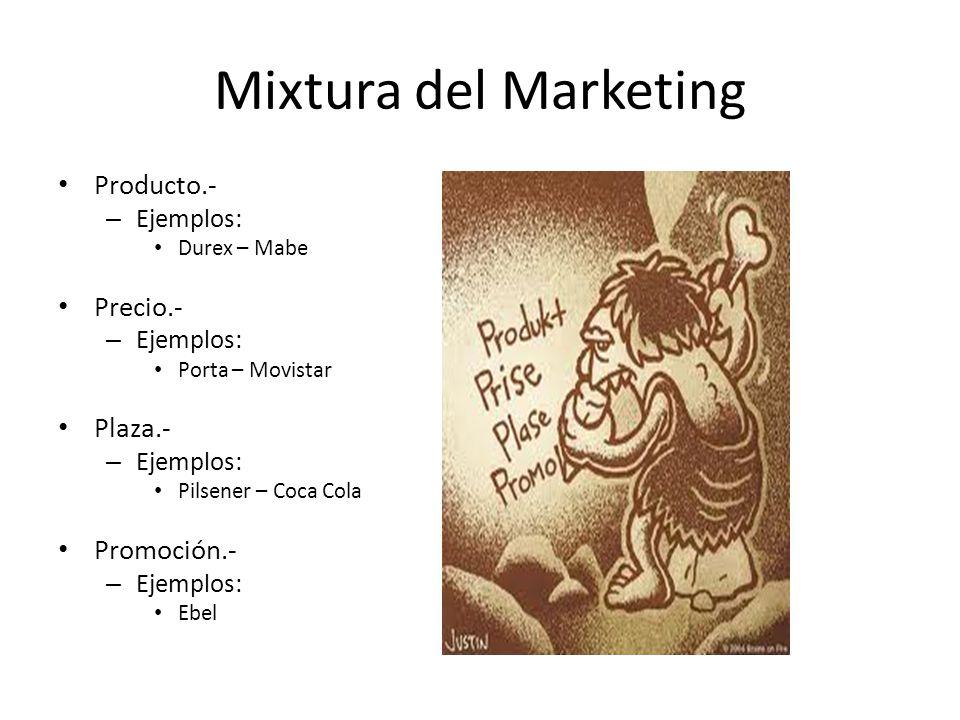 Mixtura del Marketing Producto.- – Ejemplos: Durex – Mabe Precio.- – Ejemplos: Porta – Movistar Plaza.- – Ejemplos: Pilsener – Coca Cola Promoción.- –