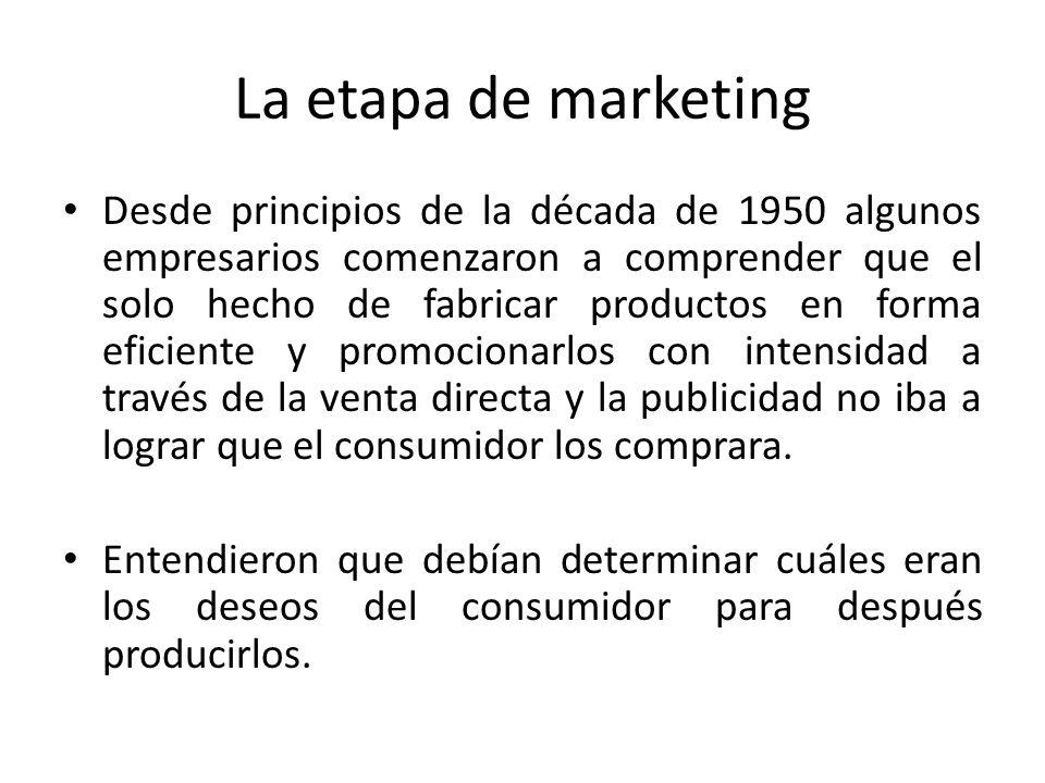 La etapa de marketing Desde principios de la década de 1950 algunos empresarios comenzaron a comprender que el solo hecho de fabricar productos en for