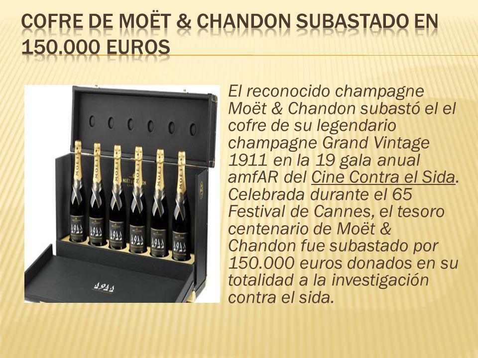 El reconocido champagne Moët & Chandon subastó el el cofre de su legendario champagne Grand Vintage 1911 en la 19 gala anual amfAR del Cine Contra el