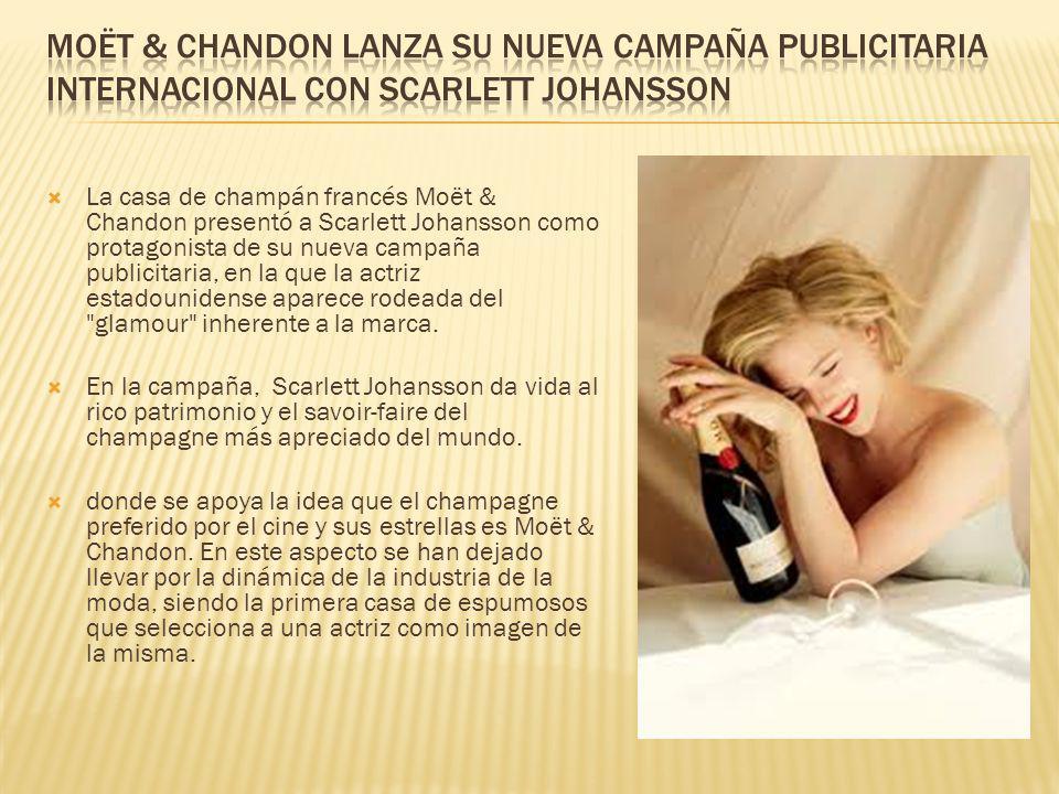 La casa de champán francés Moët & Chandon presentó a Scarlett Johansson como protagonista de su nueva campaña publicitaria, en la que la actriz estado