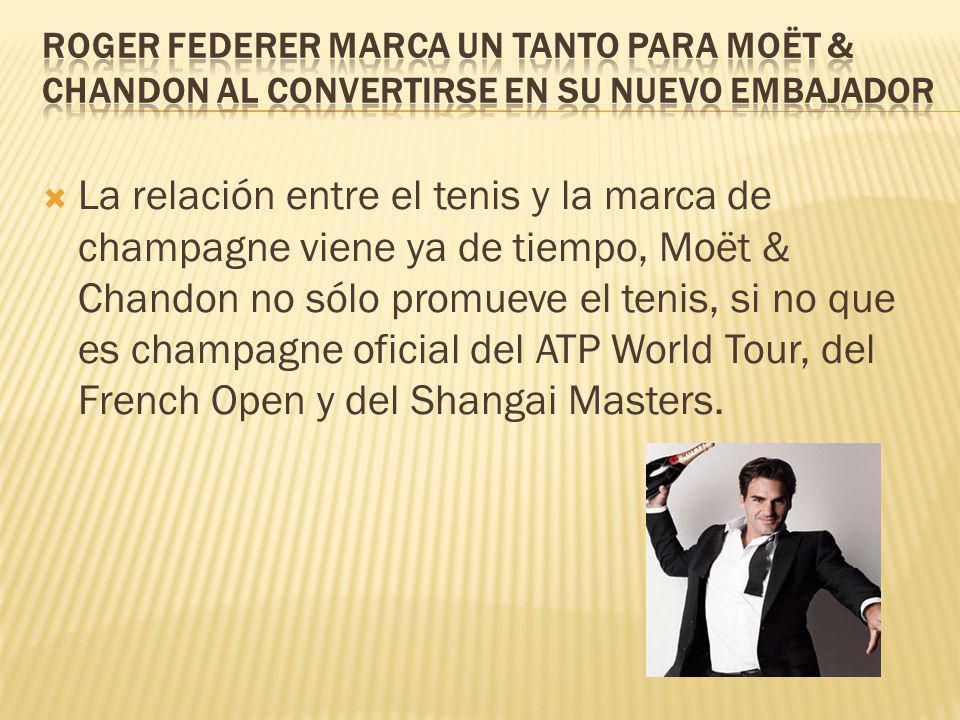 La relación entre el tenis y la marca de champagne viene ya de tiempo, Moët & Chandon no sólo promueve el tenis, si no que es champagne oficial del AT