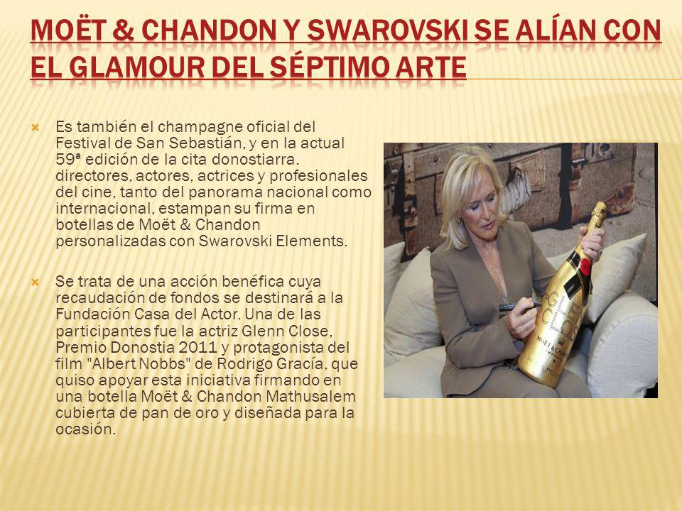 Es también el champagne oficial del Festival de San Sebastián, y en la actual 59ª edición de la cita donostiarra. directores, actores, actrices y prof