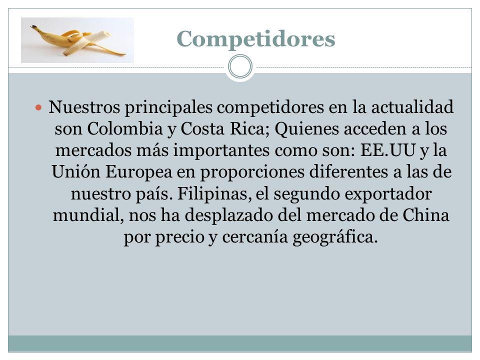 Competidores Nuestros principales competidores en la actualidad son Colombia y Costa Rica; Quienes acceden a los mercados más importantes como son: EE.UU y la Unión Europea en proporciones diferentes a las de nuestro país.