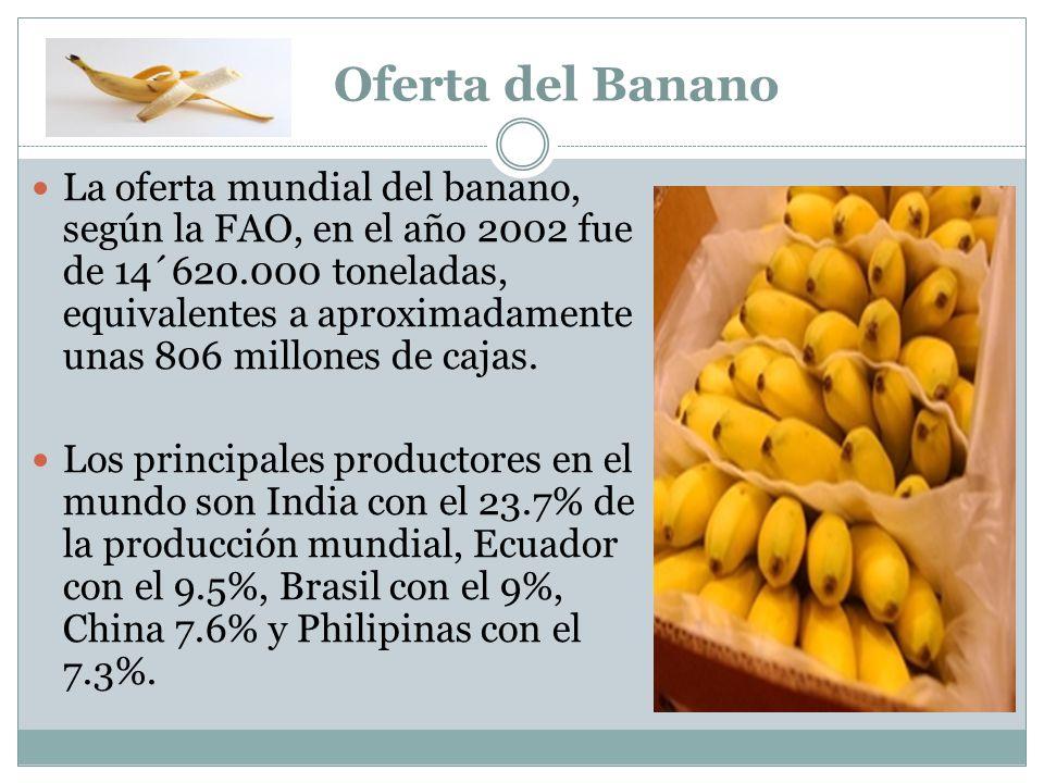 Oferta del Banano La oferta mundial del banano, según la FAO, en el año 2002 fue de 14´620.000 toneladas, equivalentes a aproximadamente unas 806 mill