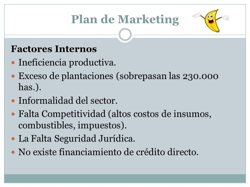 Plan de Marketing Factores Internos Ineficiencia productiva. Exceso de plantaciones (sobrepasan las 230.000 has.). Informalidad del sector. Falta Comp